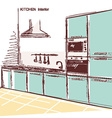 kitchen interior room color sketchy backgrou vector image vector image