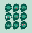 little green girls emoticon set kawaii characters vector image vector image