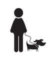 Man and dog icon vector image vector image