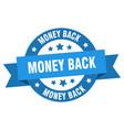 money back ribbon money back round blue sign vector image vector image