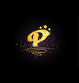 p letter alphabet icon design with golden star vector image