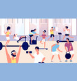 people in gym athletes group doing fitness vector image vector image