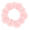 pink rose wreath vector image