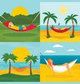 rest hammock banner set flat style vector image