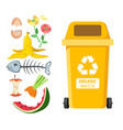 rubbish bin for recycling different types of waste vector image vector image