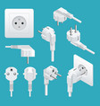set od plugs and sockets type e used in europe vector image vector image