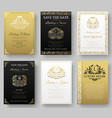 Set of gold luxury flyer pages set with logo vector image vector image