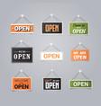 set open door advertising signs collection store vector image