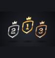 set rank emblems - gold silver bronze shield vector image