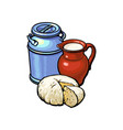 sketch milk-can milk pitcher cheese set vector image vector image