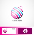 Sphere 3d pink blue logo vector image vector image