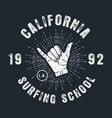 surfing school california apparel print with shaka vector image vector image
