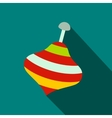 Toy spinning top flat icon