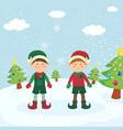 twin christmas elf boys greeting card vector image