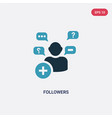 two color followers icon from shapes concept vector image