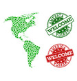welcome composition of map of south and north vector image vector image