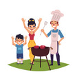 happy family having bbq barbeque picnic outdoors vector image