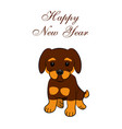 new year card 2018 year of the dog sitting vector image