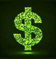 abstract dollar sing of glowing particles vector image