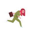 arab male doctor with briefcase running to patient vector image vector image