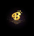 b letter alphabet icon design with golden star