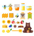 beekeeping and honey icons vector image vector image