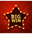 Big win retro banner in form of star with lamps vector image vector image