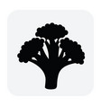 black and white icon broccoli as healthy vector image vector image