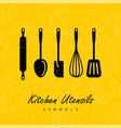 black utensils silhouettes kitchen symbols vector image