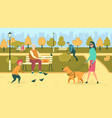 blind woman with guide dog walking in park flat vector image vector image