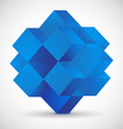 Blue cube on gray background vector image vector image