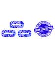 blue distress under construction seal and bricks vector image vector image