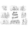 business team working storyboard business vector image