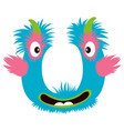 cartoon capital letter u from monster alphabet vector image vector image