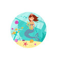 cartoon smile mermaid banner sealife vector image vector image