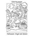 coloring halloween cute angel and demon hug vector image vector image