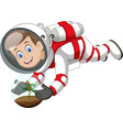 cool astronaut boy in white red suit uniform vector image vector image
