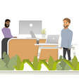 coworking reception man invite to work hipster vector image vector image
