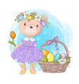 cute cartoon teddy bear girl in a dress vector image vector image