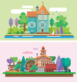 Day and evening summer garden landscape vector image vector image