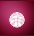 disco ball icon isolated on purple background vector image