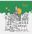 drawing sketch menton a town in southeast vector image vector image