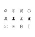 face scanning icons on white background vector image
