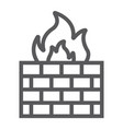 firewall line icon fire and security wall sign vector image vector image