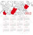 floral calendar 2012 vector image vector image