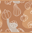 food seamless pattern in line art and doodle vector image vector image