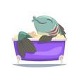funny big fish taking bath funny cartoon vector image
