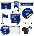 Glossy icons with Wisconsinite flag vector image vector image