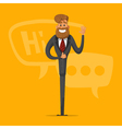 Happy man businessman greets and says that vector image vector image