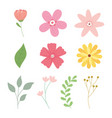 happy mothers day flower branch leaf ribbon icons vector image vector image